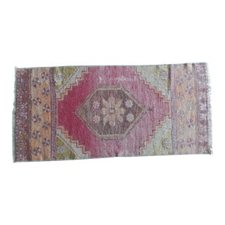Small Oushak Rug Yastik Hand Knotted Undyed Petite Runner 1′5″ × 2′11″ For Sale