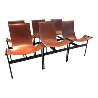 Modern William Katavolos Style Cognac Leather Sling Chairs- Set of 6 For Sale