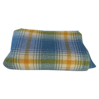 Turquoise Plaid Blanket For Sale