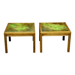 Henredon Reverse Painted Glass Tables - a Pair For Sale