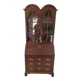 1980s Chippendale Yew Wood Secretary For Sale