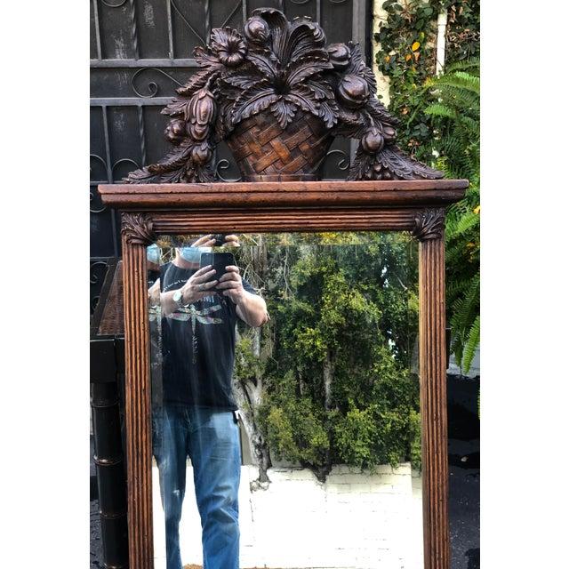 Charles Pollock for William Switzer Carved Italian Walnut & Beveled Glass Mirror - Fruit Basket Top