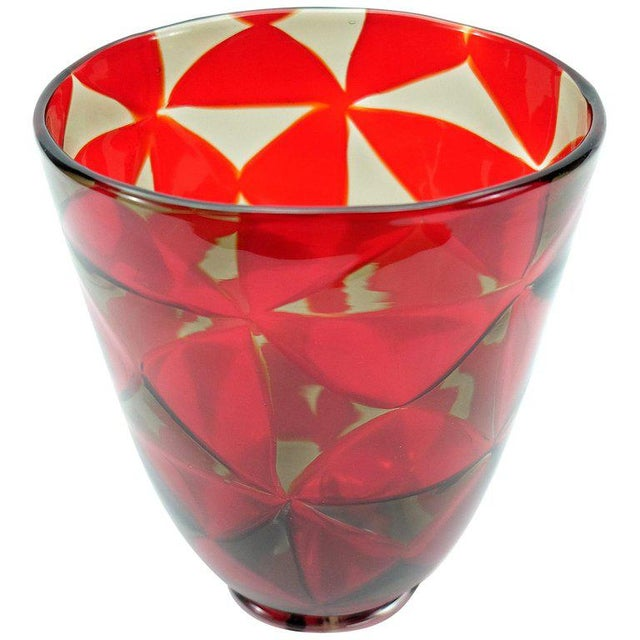 Offered for sale is a magnificent handblown red mosaic triangle Murano Glass vase by Barovier & Toso. The handblown vase...