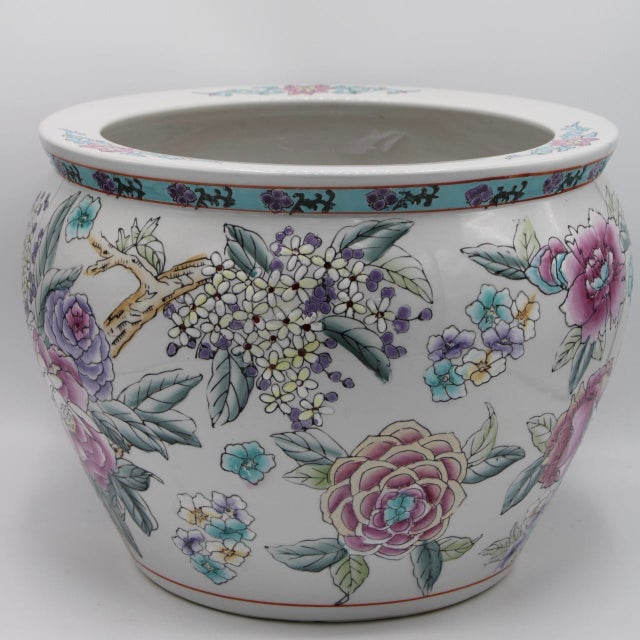 White Large Chinese Porcelain Lotus Flower Koi Fish Bowl Garden Planter For Sale - Image 8 of 10