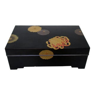 Black Lacquered Footed Box For Sale