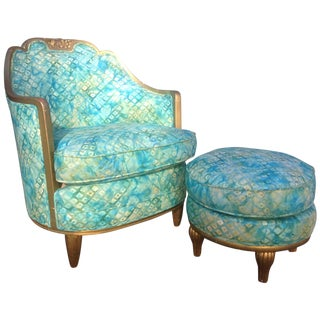 1910s Art Deco Paul Follot Style Gilt Aqua Lounge Chair and Ottoman - 2 Pieces For Sale
