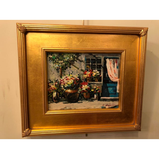 1980s 1980s Impressionistic Outdoor Garden Oil on Canvas Painting For Sale - Image 5 of 8