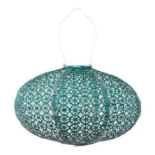 Soji Stella Outdoor Oval Lantern in Metallic Emerald Wagon Wheel For Sale