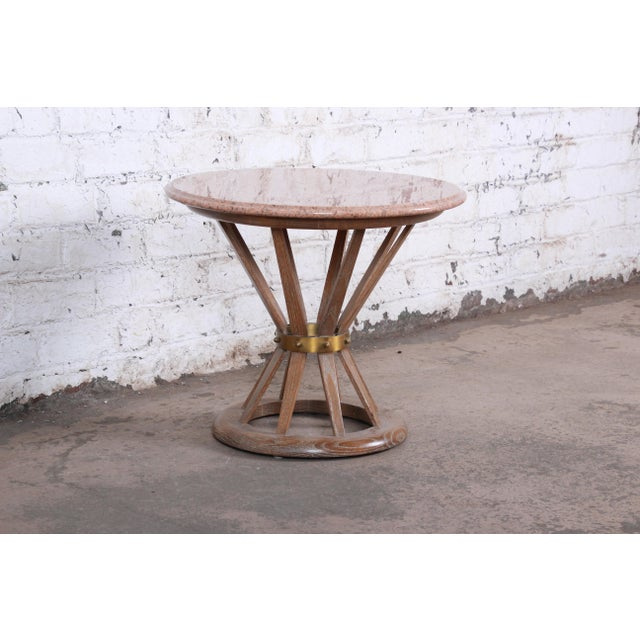 Edward Wormley Edward Wormey for Dunbar Style Sheaf of Wheat Marble Top Side Table For Sale - Image 4 of 11