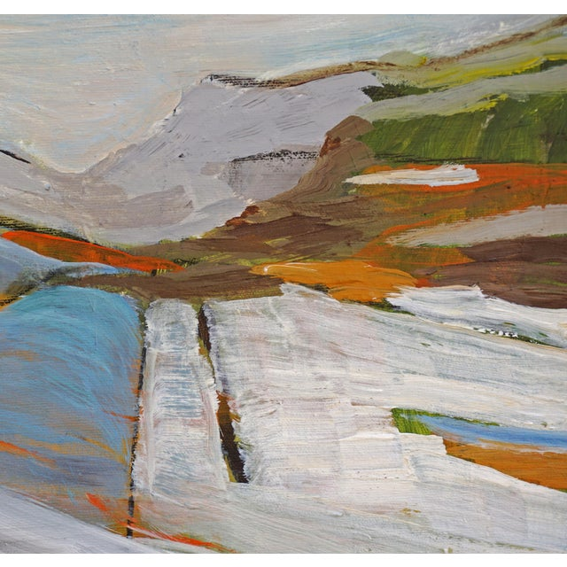 """Laurie MacMillan """"Land Lines"""" Abstract Landscape Painting by Laurie MacMillan, Framed For Sale - Image 4 of 7"""
