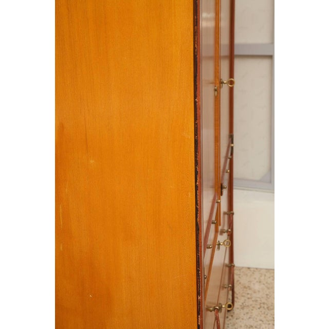 Jacques Adnet 1950s Large Cherrywood and Leather Cabinet by Jacques Adnet For Sale - Image 4 of 13