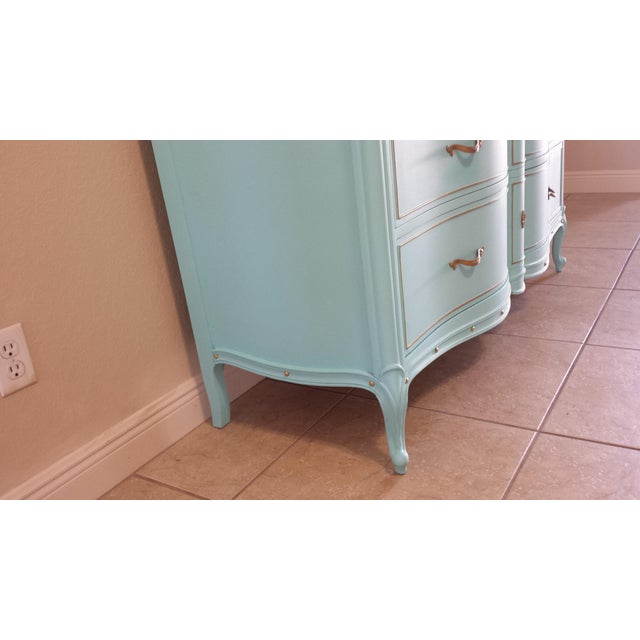 Turquoise Drexel Touraine French Provincial 6-Drawer Dresser For Sale - Image 8 of 9
