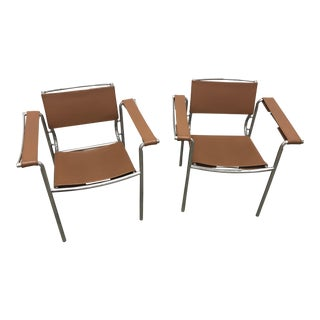 Chrome & Saddle Leather Chairs - A Pair