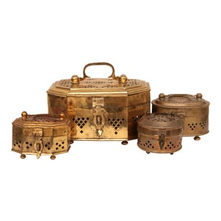 Vintage Brass Cricket Boxes - Set of 4 For Sale