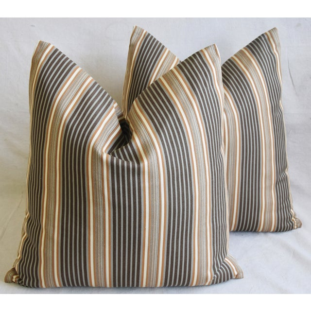 "French Striped Ticking Feather/Down Pillows 24"" Square - Pair For Sale - Image 11 of 11"