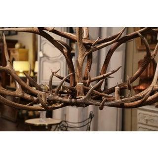 Vintage Elk Mule Deer Antler Horn Ten-Light Ceiling Chandelier Preview