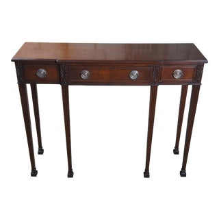 20th Century Mahogany Sheraton Style Console Entryway Breakfront Hall Table For Sale