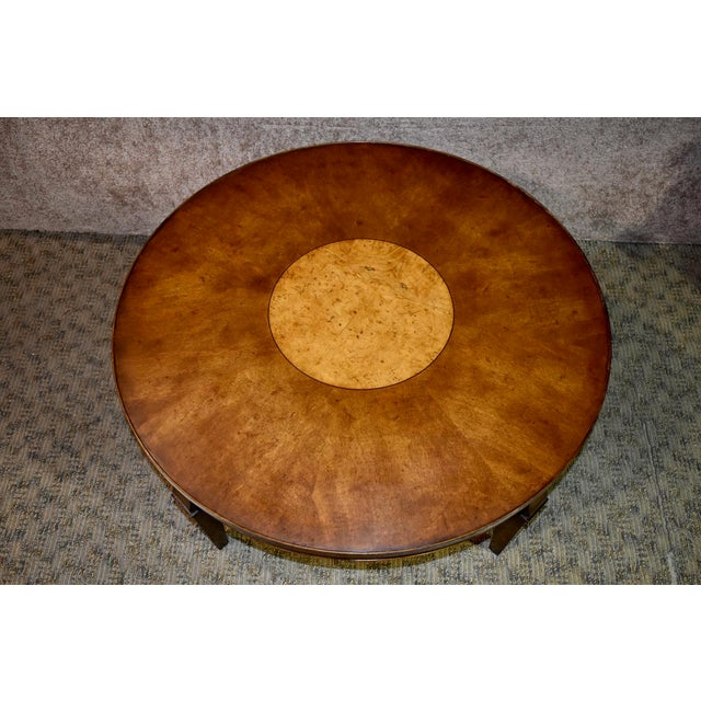 Vintage Old Colony Regency Style Inlaid Lazy Susan Cocktail Table For Sale In Philadelphia - Image 6 of 13