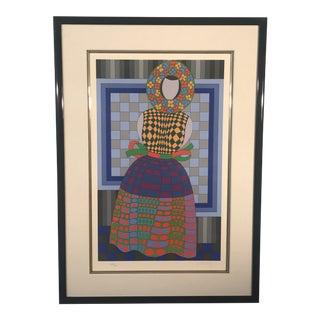 1980s Victor Vasarely Fille Fleur Original Serigraph Print For Sale