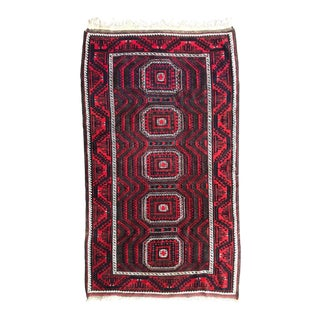 """Antique Hand Woven Red and Black Persian Wool Rug 7'3""""x4'3"""" For Sale"""