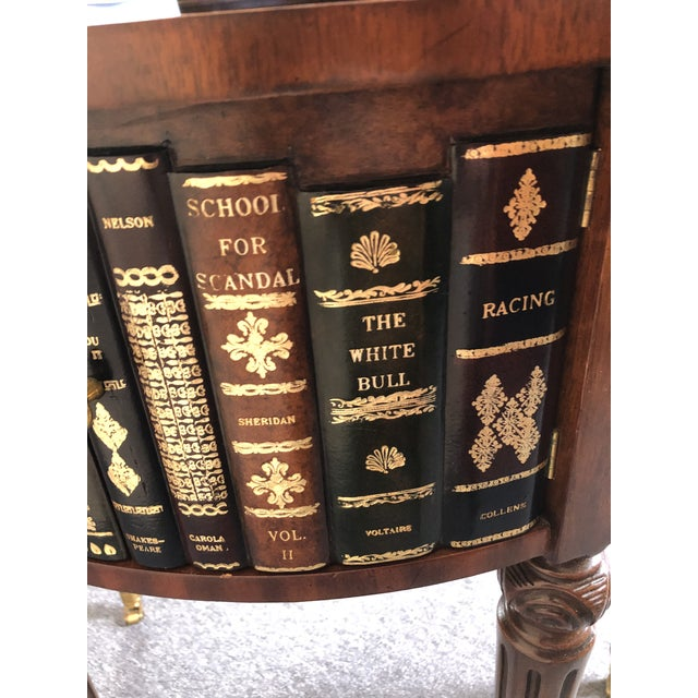 Round Leather Wrapped Side Table Cabinet With Trompe l'Oeil Books For Sale - Image 12 of 13