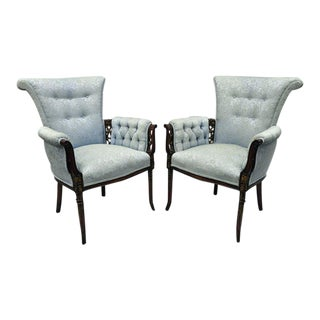 Early 20th Century Antique Hollywood Regency Carved Mahogany Armchairs - A Pair For Sale