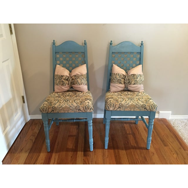 Vintage Blue Cottage Chairs - A Pair - Image 4 of 7