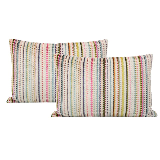 "12"" X 18"" Tribeca Cut Velvet Lumbar Pillows - a Pair For Sale - Image 4 of 4"