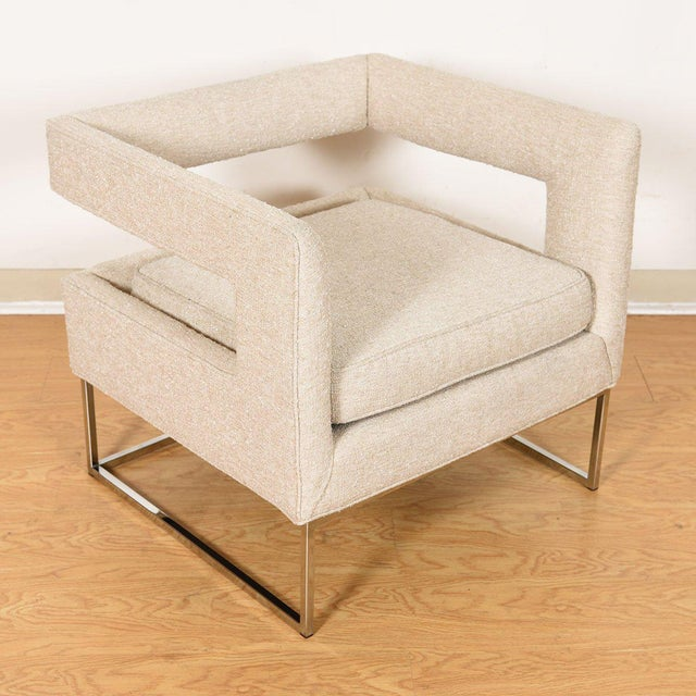 Milo Baughman for Thayer Coggin Pair Milo Baughman Open Back Club Chairs For Sale - Image 4 of 13