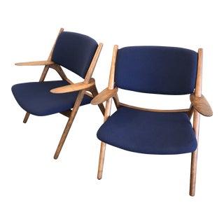 Blue Hans Wegner Style Sawbuck Chairs - A Pair