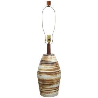 1960s Martz for Marshall Studios Earth Tone Swirl Ceramic Lamp For Sale