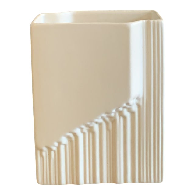 1970s Vintage Art Deco White Sculptural Vase For Sale