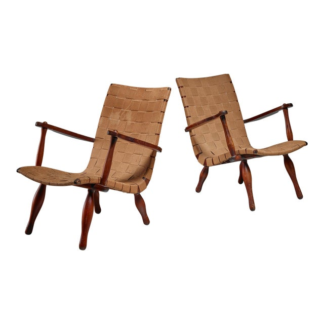 Pair of Lounge Chairs with Webbed Seating, Sweden, 1940s For Sale