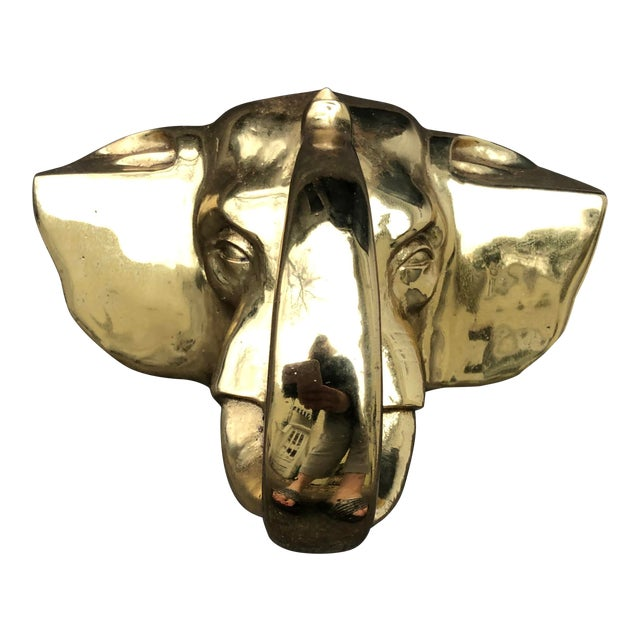 Monumental Brass Elephant Hook For Sale