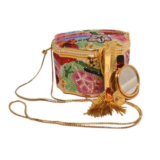 Judith Leiber Sweat Meat Box Pop Art Novelty Gold Crystal MultiColor Minaudiere Evening Bag Vintage Preview