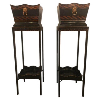 Pair of Georgian Style Tole Jardinières or Planters on Shelved Pedestals For Sale