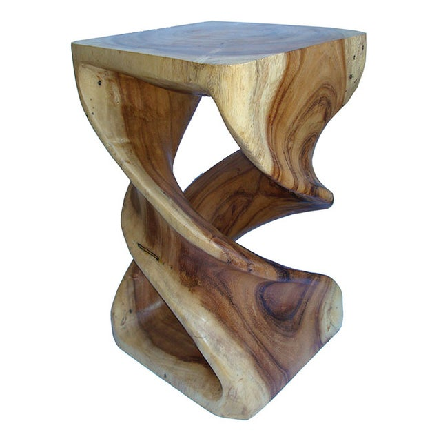 Hand Carved Solid Teak Stool/Side Table - Image 1 of 5