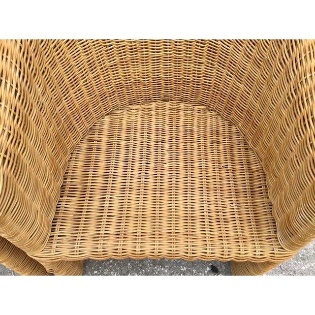 Moderne Rattan Barrel Chairs - a Pair For Sale In West Palm - Image 6 of 11