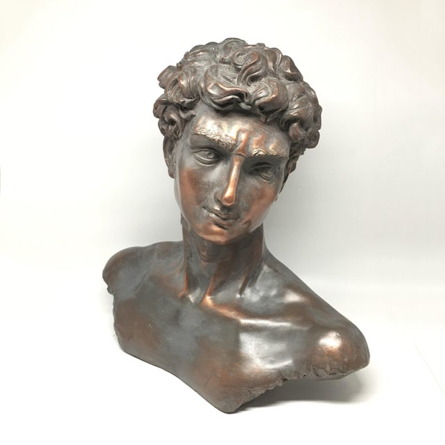 Vintage Neoclassical Roman Plaster Male Bust of David - Image 2 of 6