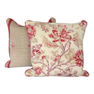 19th Century French Indienne Printed Cotton & Linen Pillows - a Pair For Sale