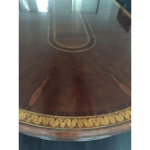Round to Oval Inlaid Oak Extension Dining Table - Image 11 of 11