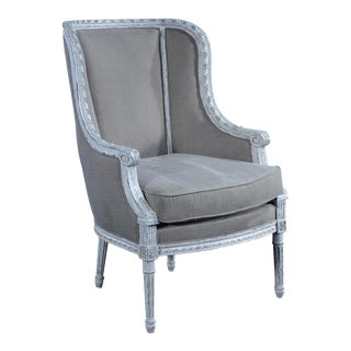 Louis XVI French Hand-Carved Aged Gray Bergere Chair For Sale