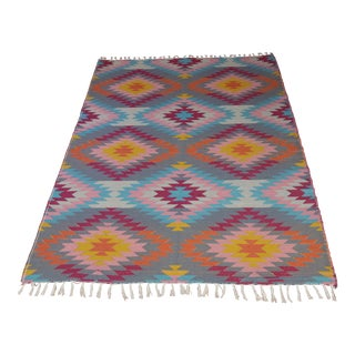 "Flat Weave Turkish Pink Wool Kilim Rug - 5'3"" X 7'6"""