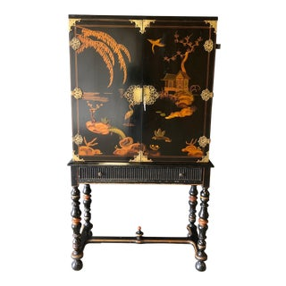 1920s Antique Black Lacquer Chinese Cabinet For Sale
