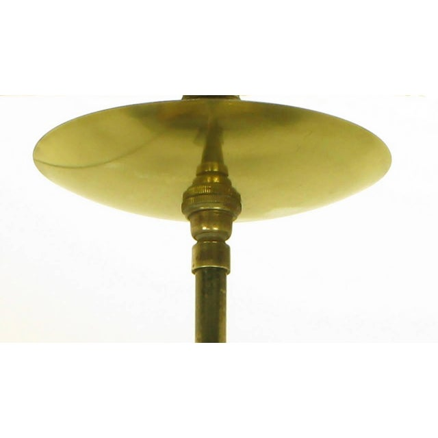 Brass Brass and Black Lacquer Six-Light Chandelier with Hurricane Shades For Sale - Image 7 of 8