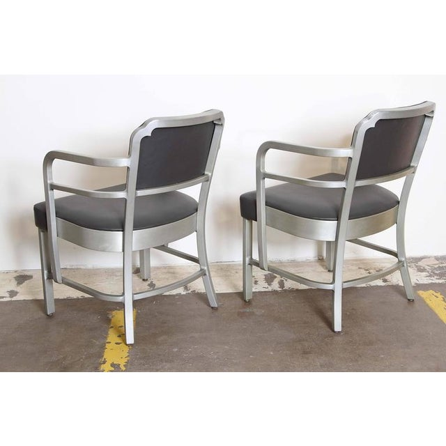 General Fireproofing Company Pair of Machine Age Art Deco Leather GoodForm Armchairs Brushed Aluminum For Sale - Image 4 of 11