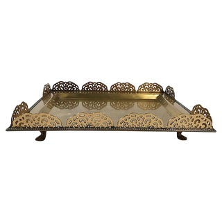 Large Footed Brass Tray With Scalloped Rail For Sale
