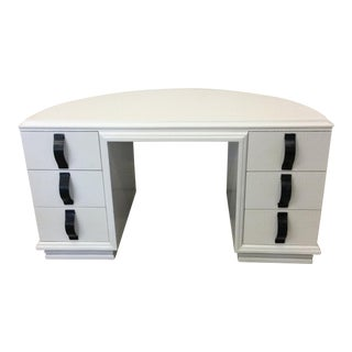Monumental Crescent Shaped Lacquered White Desk with Faux Crocodile Finish