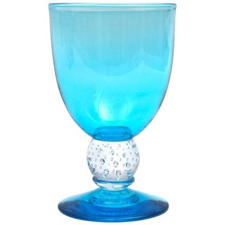 Handblown Turquoise Glass Goblet With Controlled Bubble Base, Large Quantities For Sale