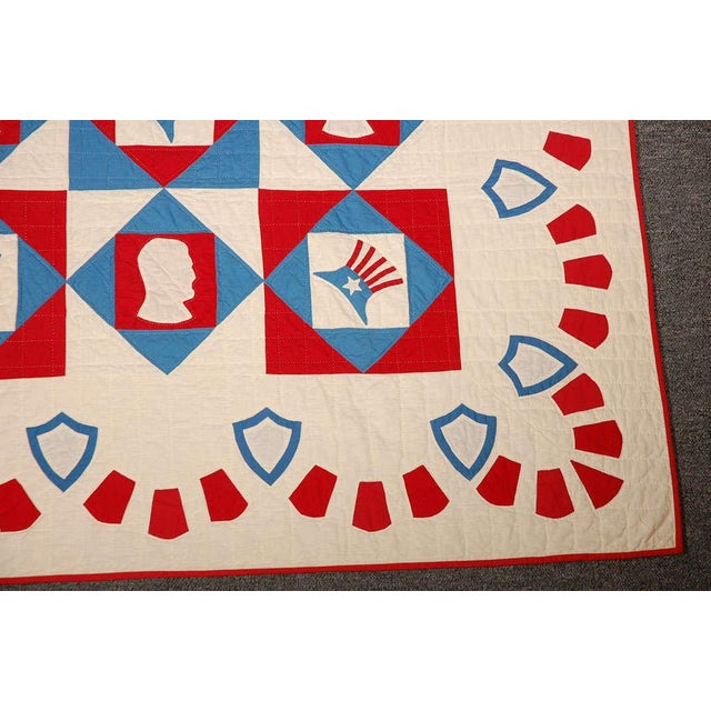 Cotton Rare Patriotic Presidential Applique Quilt from 1925 For Sale - Image 7 of 9